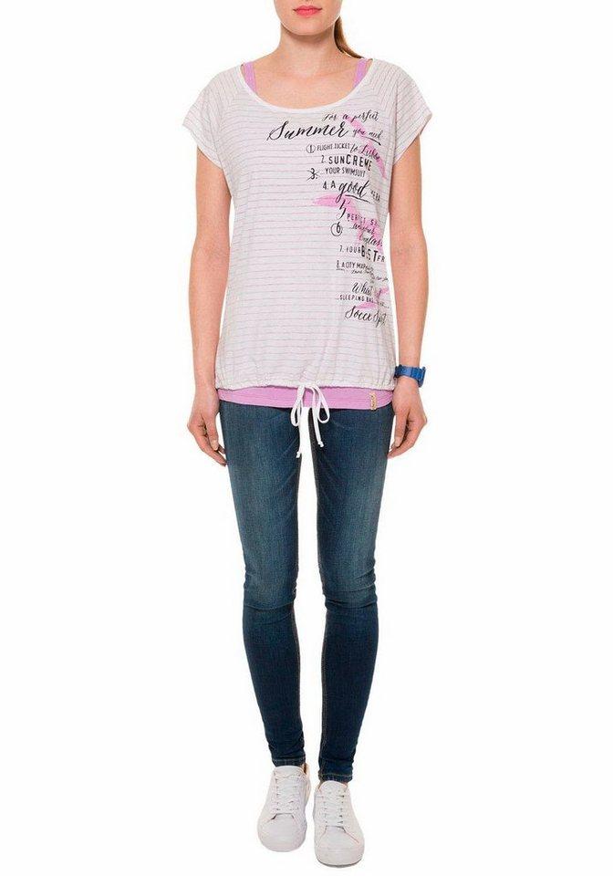 SOCCX T-Shirt im Lagenlook in lila-gestreift