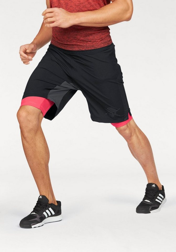 adidas Performance 2-in-1-Shorts »ASS 2 GRASS 2IN1« Mit integrierter Tights in schwarz-rot