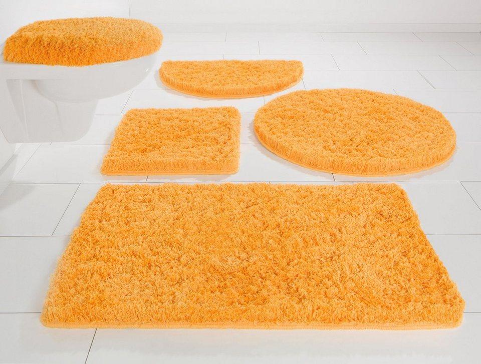 Badematte, Halbrund, Möve, »Superwuschel«, Microfaser, Höhe 40 mm, rutschhemmender Rücken in saffron