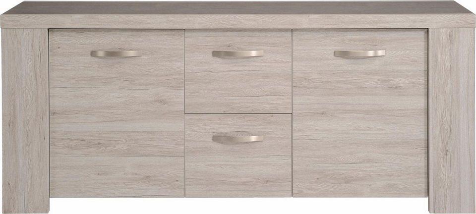 Parisot Sideboard »Malone«, Breite 200 cm in grau mit Holzstruktur