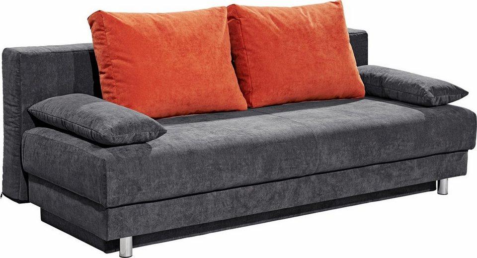 SOFA-TEAM Schlafsofa in dunkelgrau/orange