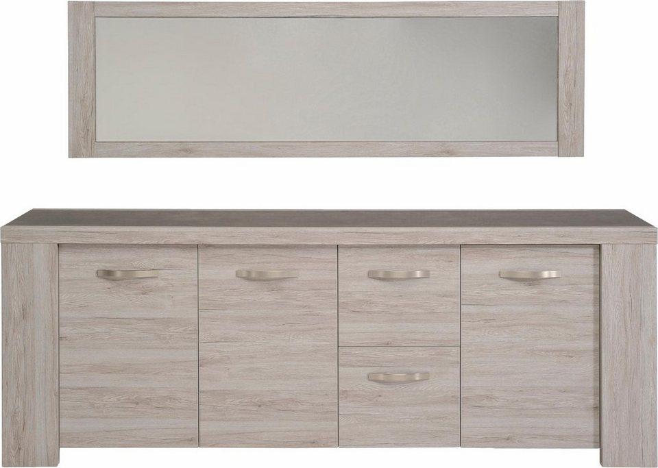 Parisot Sideboard »Malone«, Breite 230 cm in grau mit Holzstruktur