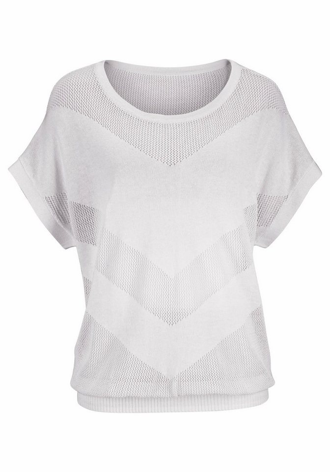 LASCANA Strandpullover aus Ajourstrick in weiß