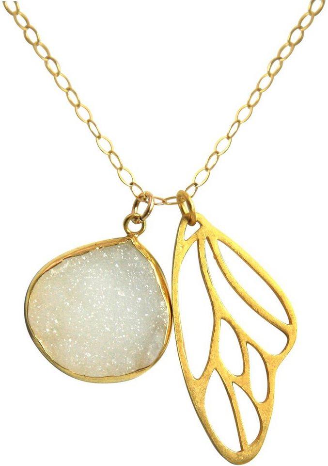 Gemshine Schmuckset: Kette mit zwei Anhängern mit Achat, »Schmetterlingsflügel, Cdrao2« in Silber 925-goldfarben vergoldet-weiß
