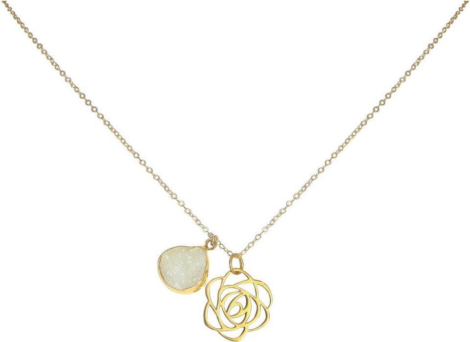 Gemshine Schmuckset: Kette mit zwei Anhängern mit Achat, »Blume, Cdrfo2« in Silber 925-goldfarben vergoldet-weiß