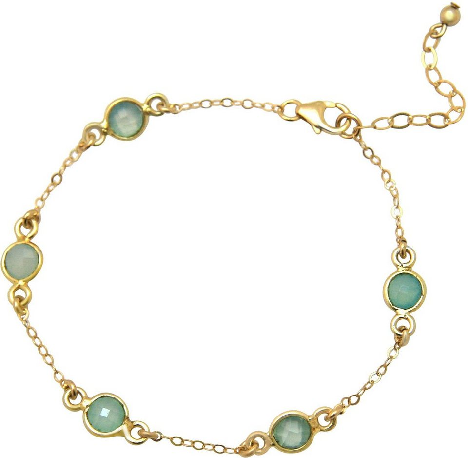 Gemshine Armband mit Chalcedon, »Egcho« in goldfarben vergoldet-meeresgrün