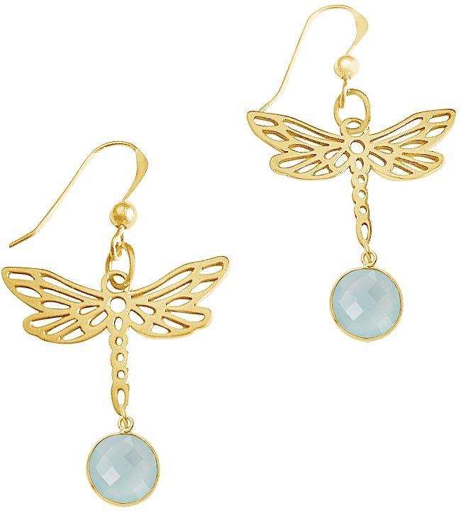 Gemshine Paar Ohrhaken mit Chalcedon, »Libelle, PlichO« in Silber 925-goldfarben vergoldet-meeresgrün