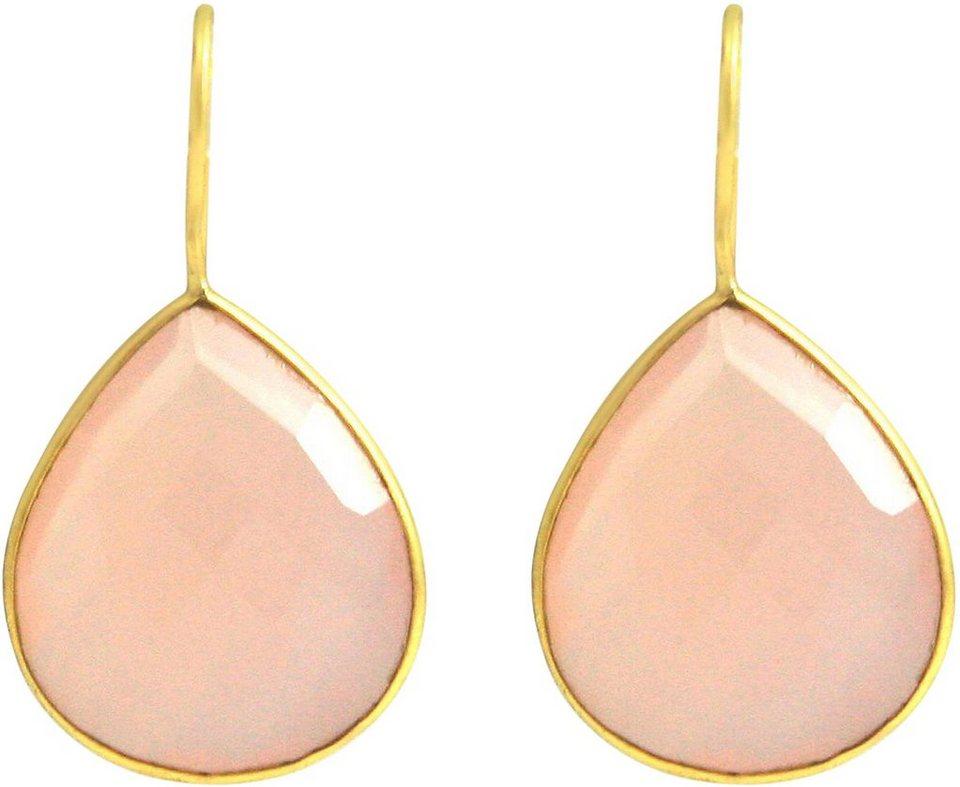 Gemshine Paar Ohrhaken mit Rosa Onyx, »P15208« in Silber 925-goldfarben vergoldet-rosa