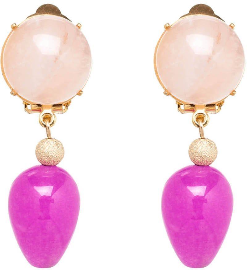 Gemshine Paar Ohrclips mit Rosenquarz und Jade, »Pclip1o« in goldfarben-rosa-fuchsia