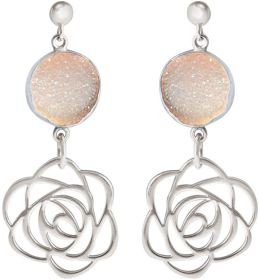 Gemshine Paar Ohrstecker mit Achat, »Blume, Pdrfp2« in Silber 925-rosa