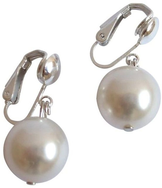 Gemshine Paar Ohrclips mit Muschelkernperlen, »PMAwCp« in Silber 925-weiß