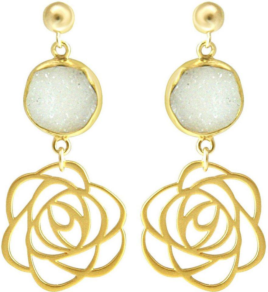 Gemshine Paar Ohrstecker mit Achat, »Blume, Pggfo2« in Silber 925-goldfarben vergoldet-weiß