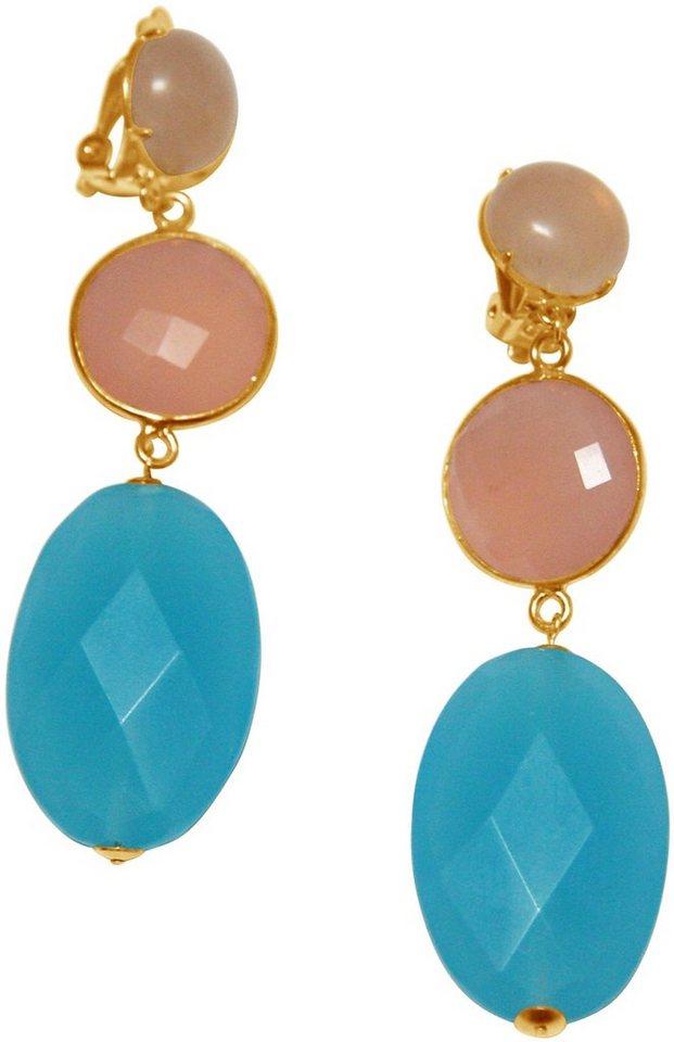 Gemshine Paar Ohrclips mit Rosenquarz und Jade, »Pclip11o« in goldfarben-rosa-blau