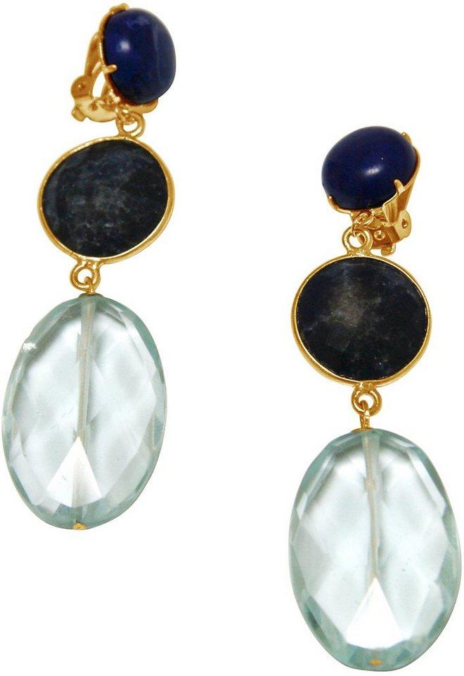 Gemshine Paar Ohrclips mit Lapislazuli und Quarzsteinen, »Pclip18o« in goldfarben vergoldet-blau