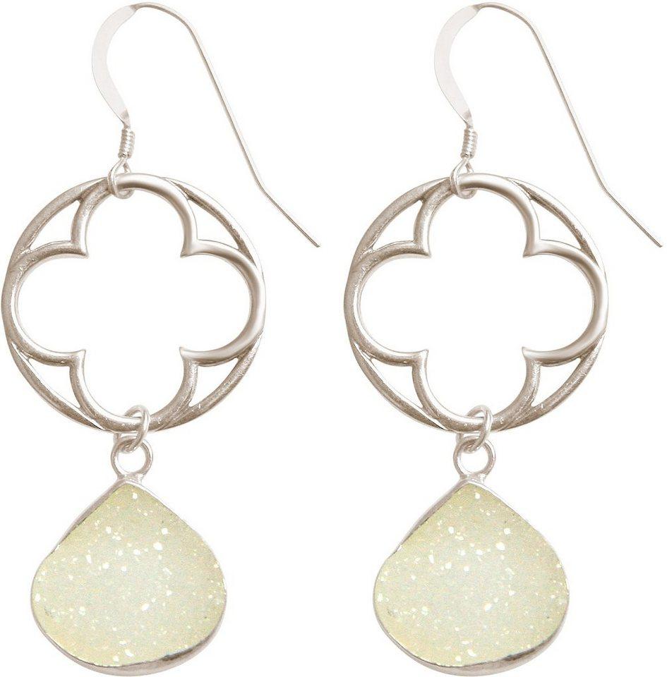 Gemshine Paar Ohrhaken mit Achat, »Blume, Pdrvgp2« in Silber 925-weiß