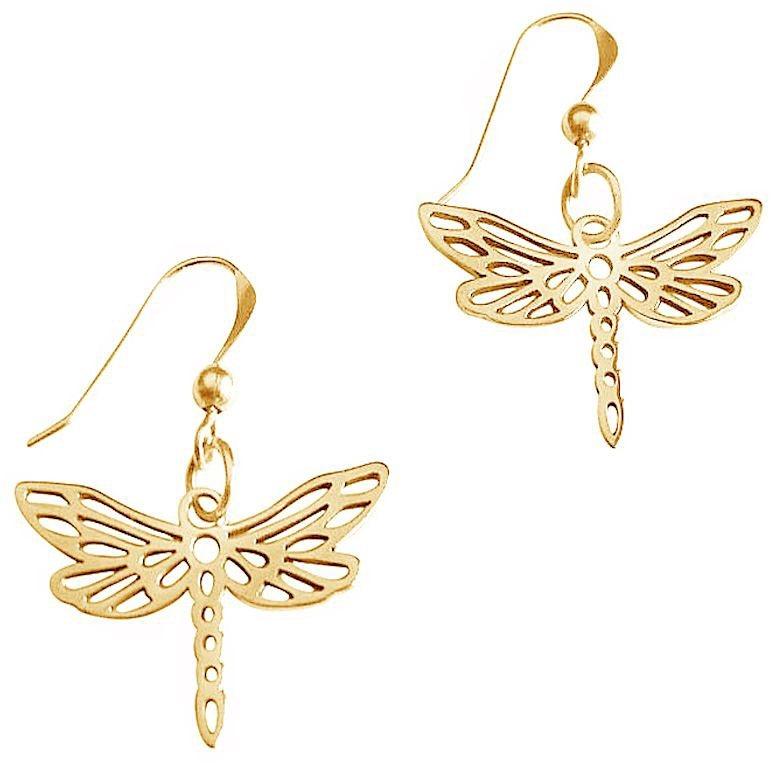 Gemshine Paar Ohrhaken, »Libelle, PliO« in Silber 925-goldfarben