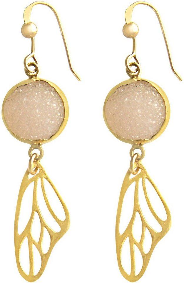 Gemshine Paar Ohrhaken mit Achat, »Schmetterlingsflügel, Pdrapo1« in Silber 925-goldfarben vergoldet-rosa