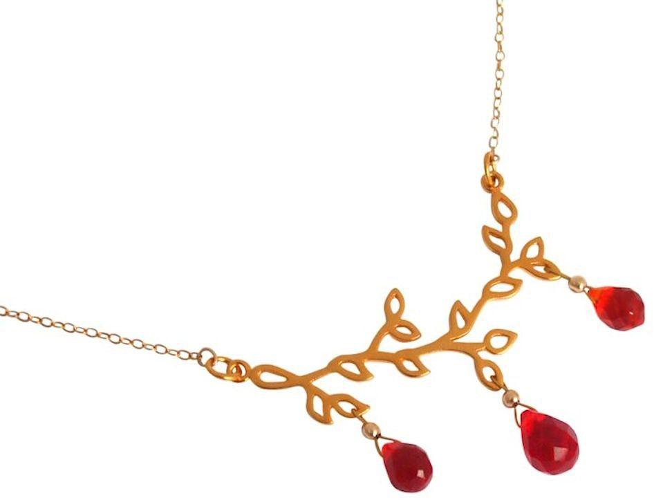 Gemshine Collier mit Quarzsteinen, »Zweig, CVGA565r« in Silber 925-goldfarben vergoldet-rot