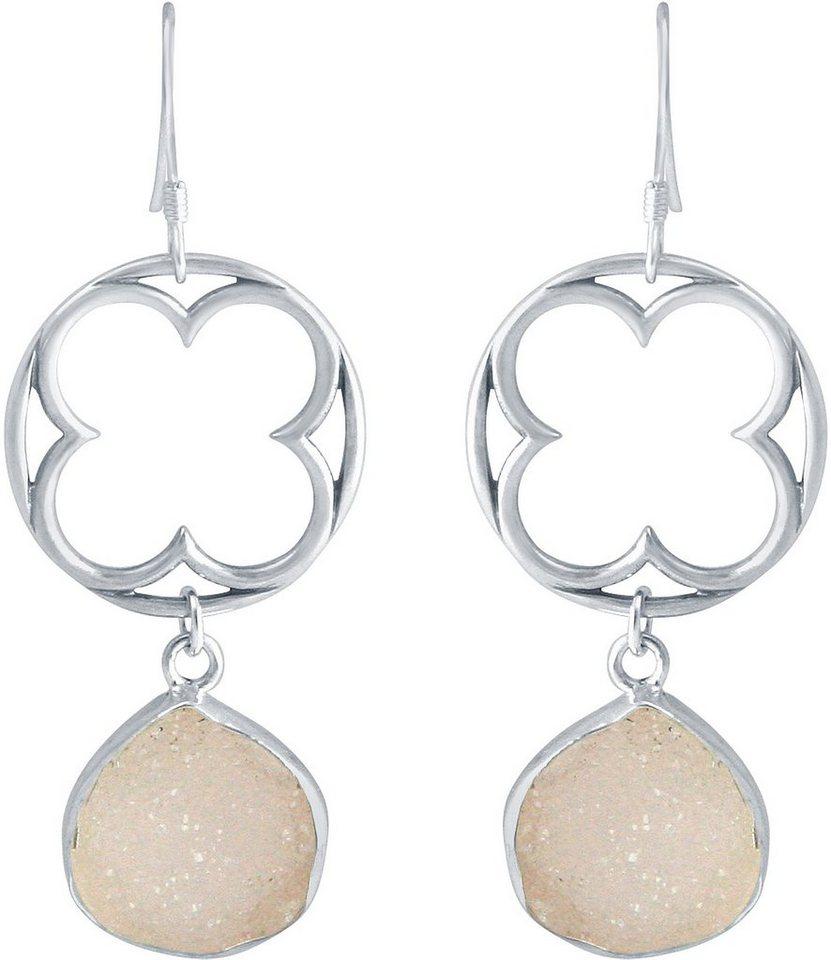 Gemshine Paar Ohrhaken mit Achat, »Blume, Pdrvgp1« in Silber 925-rosa