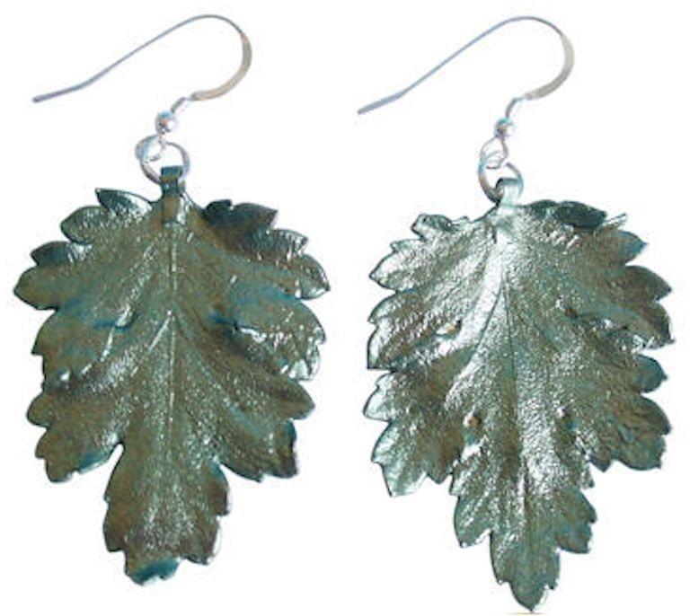 Gemshine Paar Ohrhaken, »Chrysanthemenblatt, WPchryp« in Silber 925