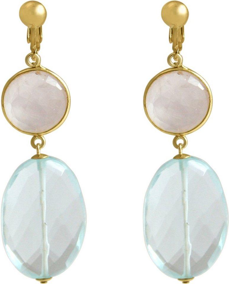 Gemshine Paar Ohrclips mit Rosenquarz und Quarzsteinen, »Pclip20o« in goldfarben vergoldet-hellblau-rosa