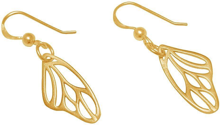 Gemshine Paar Ohrhaken, »Schmetterlingsflügel, Pal2o« in Silber 925-goldfarben vergoldet