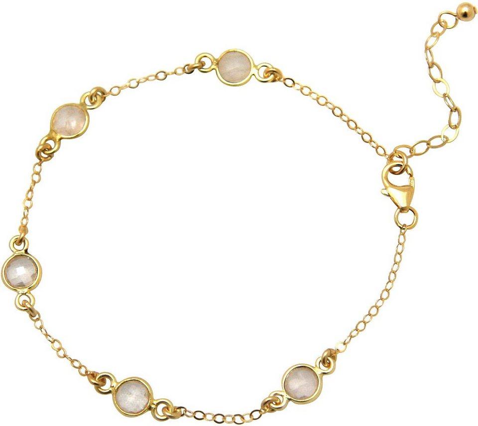 Gemshine Armband mit Rosenquarz, »Egrqo« in goldfarben vergoldet-rosa