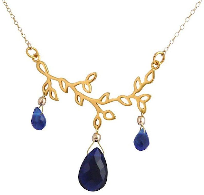Gemshine Collier, »Zweig, CGAT575q« in Silber 925-teilw. goldfarben vergoldet-blau