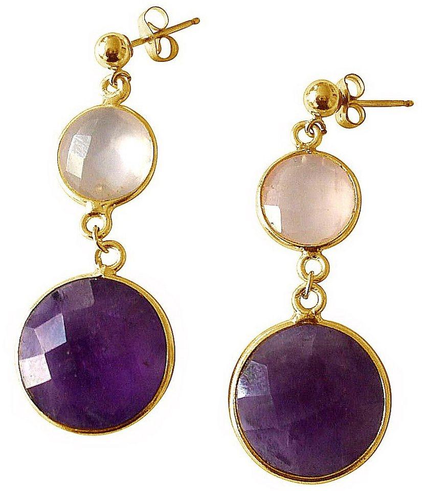 Gemshine Paar Ohrstecker mit Rosenquarz und Amethyst, »PSEAM« in goldfarben vergoldet-rosa-violett