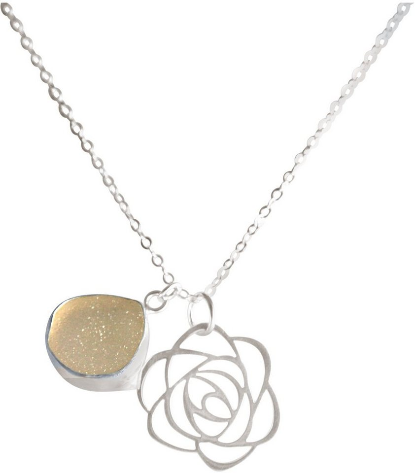 Gemshine Schmuckset: Kette mit zwei Anhängern mit Achat, »Blume, Cdrfp2« in Silber 925-rosa