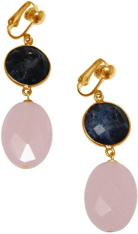 Gemshine Paar Ohrclips mit Rosenquarz und Lapislazuli, »Pclip19o« in goldfarben vergoldet-rosa-blau