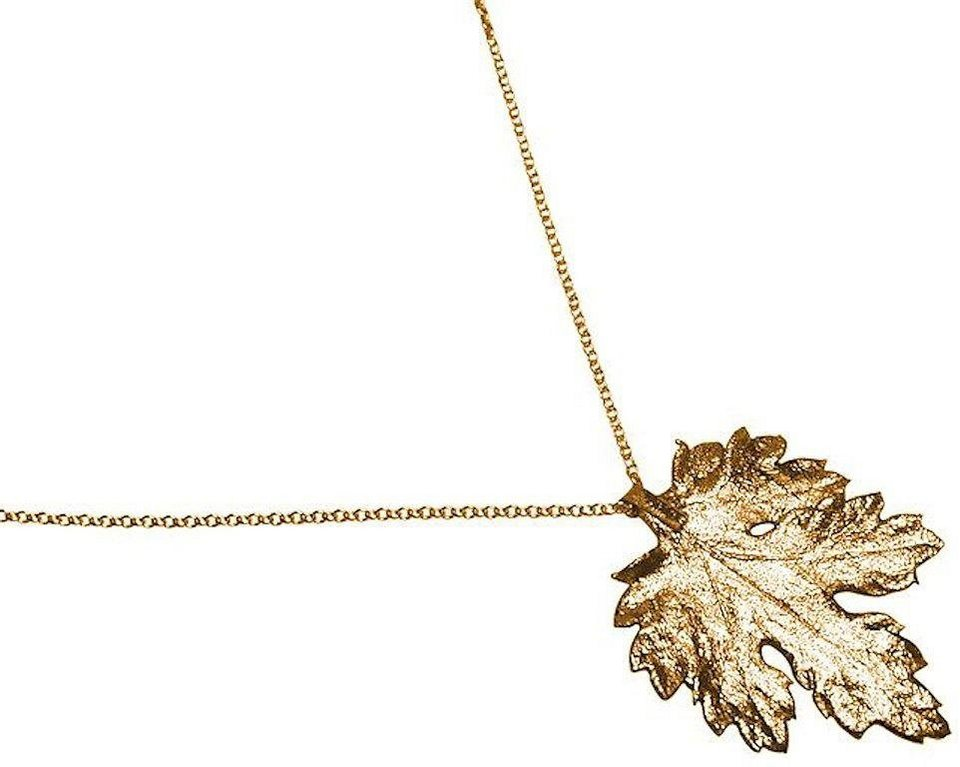 Gemshine Kette mit Anhänger, »Chrysanthemenblatt, WCChryo« in goldfarben