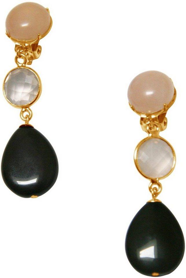 Gemshine Paar Ohrclips mit Rosenquarz und Obsidian, »Pclip14o« in goldfarben vergoldet-schwarz-rosa
