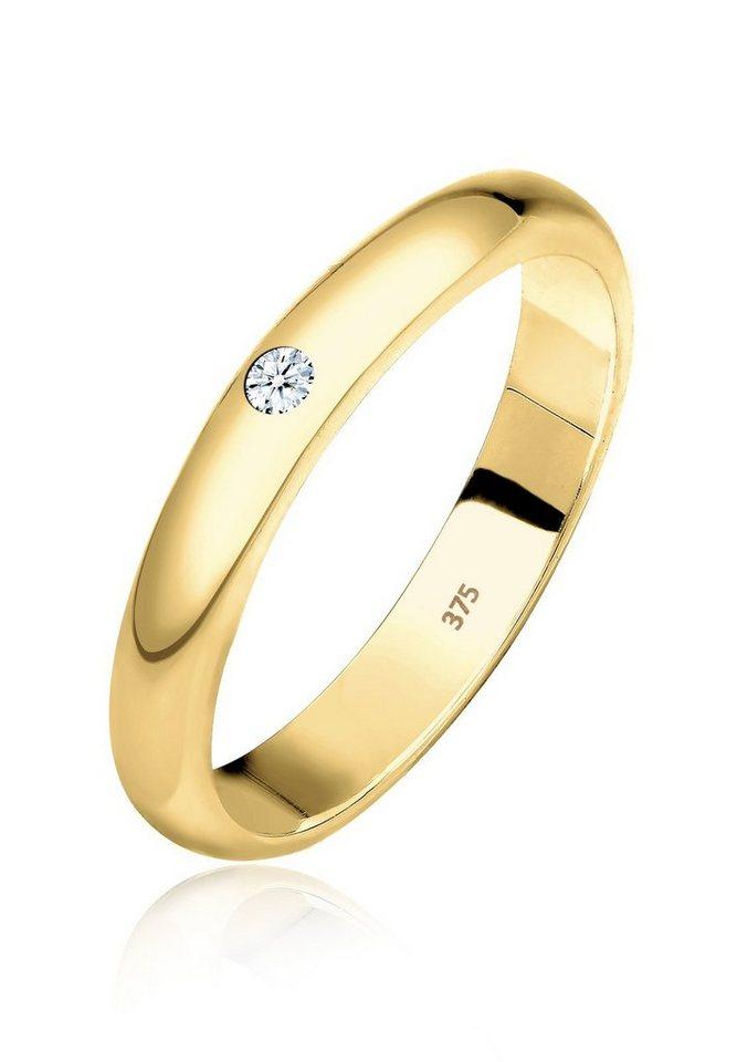 Elli Ring »Ehering Solitär Diamant 0.03 ct. 375 Gelbgold« in Weiß