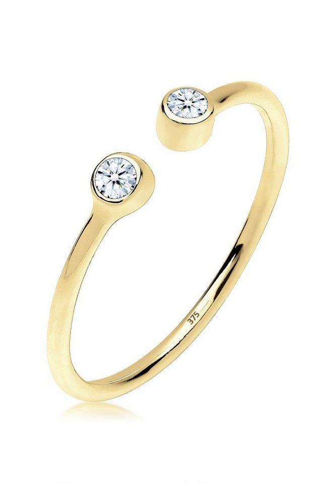 Elli Ring »Offen Statement Diamant 0.06 ct. 375 Gelbgold« in Weiß
