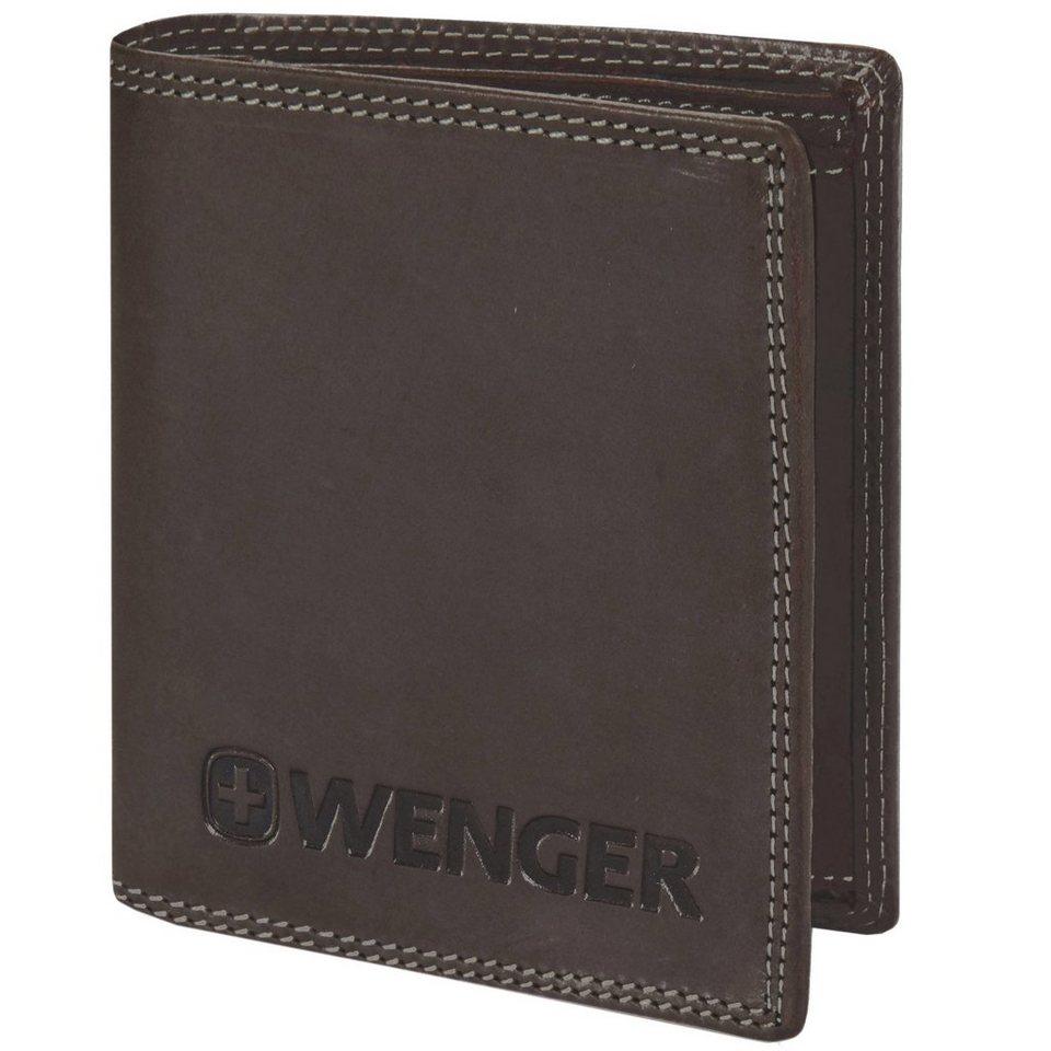 Wenger Geldbörse Hochformat Leder 10,5 cm mit Klappfach und Reißverschl in brown