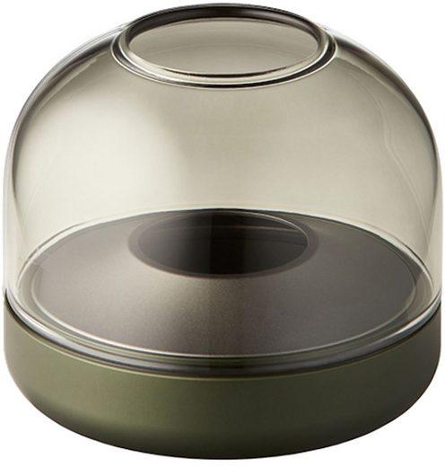 kooduu Windlicht »Glow 08«, Luxuswindlicht, aus gebürstetem Aluminum und Rauchglas