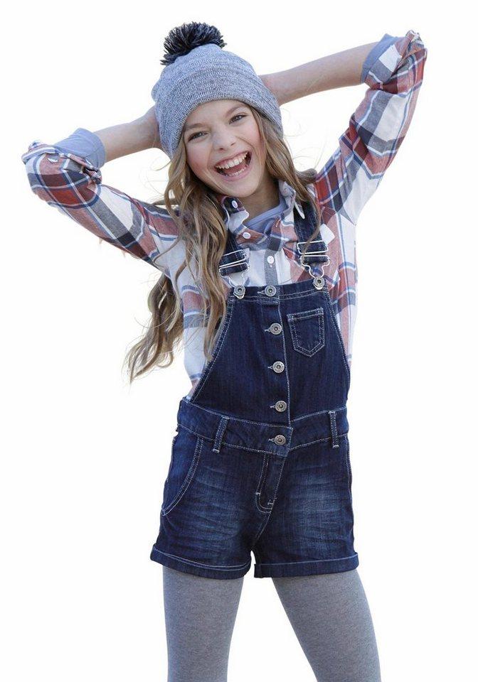 Arizona Jeanslatzhose mit Eingrifftaschen, für Mädchen in dark denim