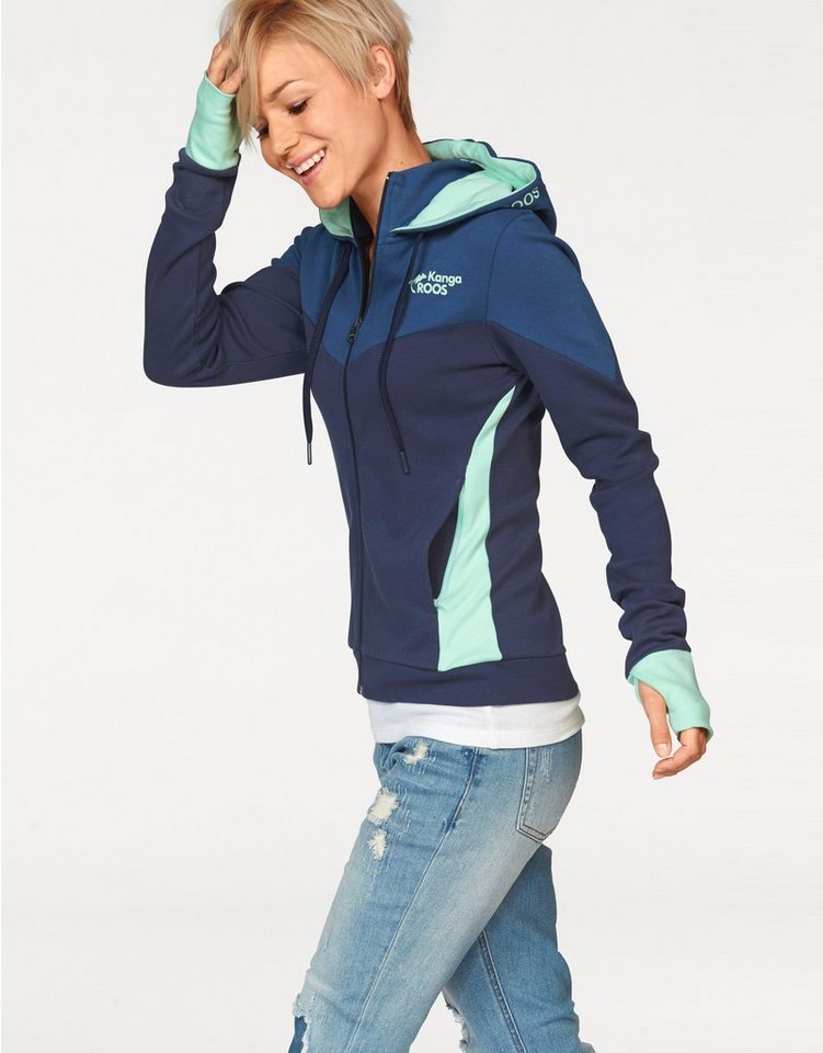 KangaROOS Kapuzensweatjacke in Colorblocking-Optik in dunkelblau-mint