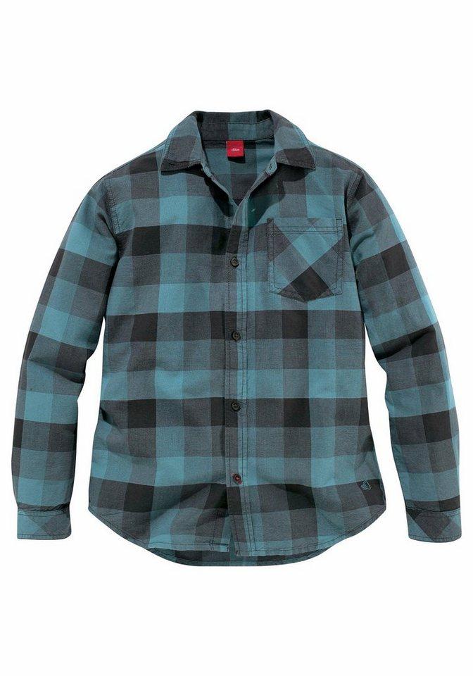 s.Oliver RED LABEL Junior Hemd Mit aufgesetzter Brusttasche in petrol-kariert