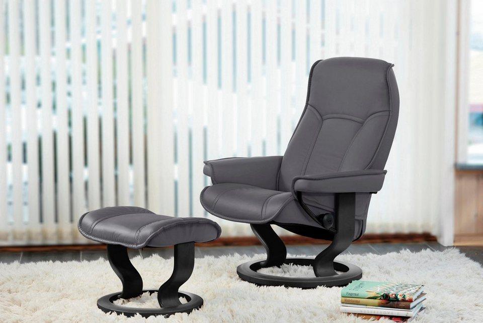 Stressless® Set: Relaxsessel mit Hocker »Senator« mit Classic Base, Größe M, mit Schlaffunktion in grey