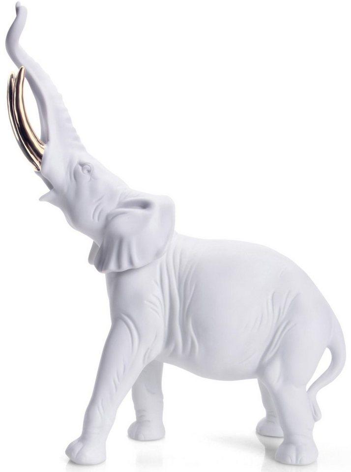W&A Figur »Elefant« aus Porzellan in weiß/gold