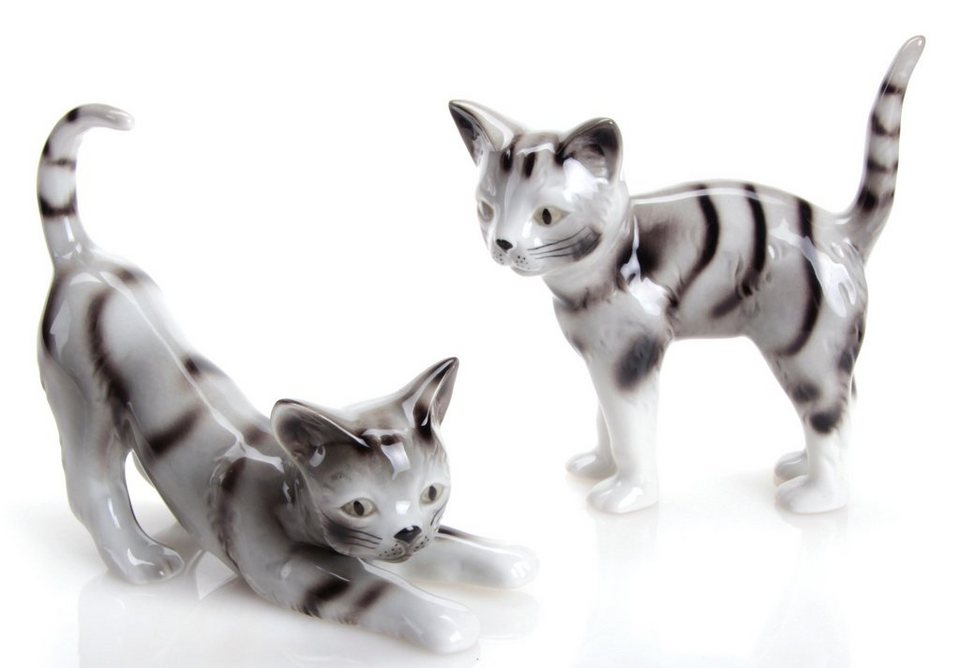 W&A Figur »Katzen« aus Porzellan (2er-Set) in grau