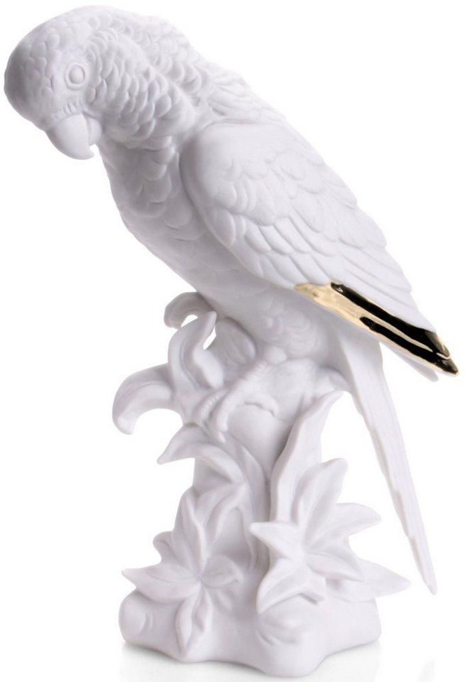 W&A Figur »Papagei« aus Porzellan in weiß/gold