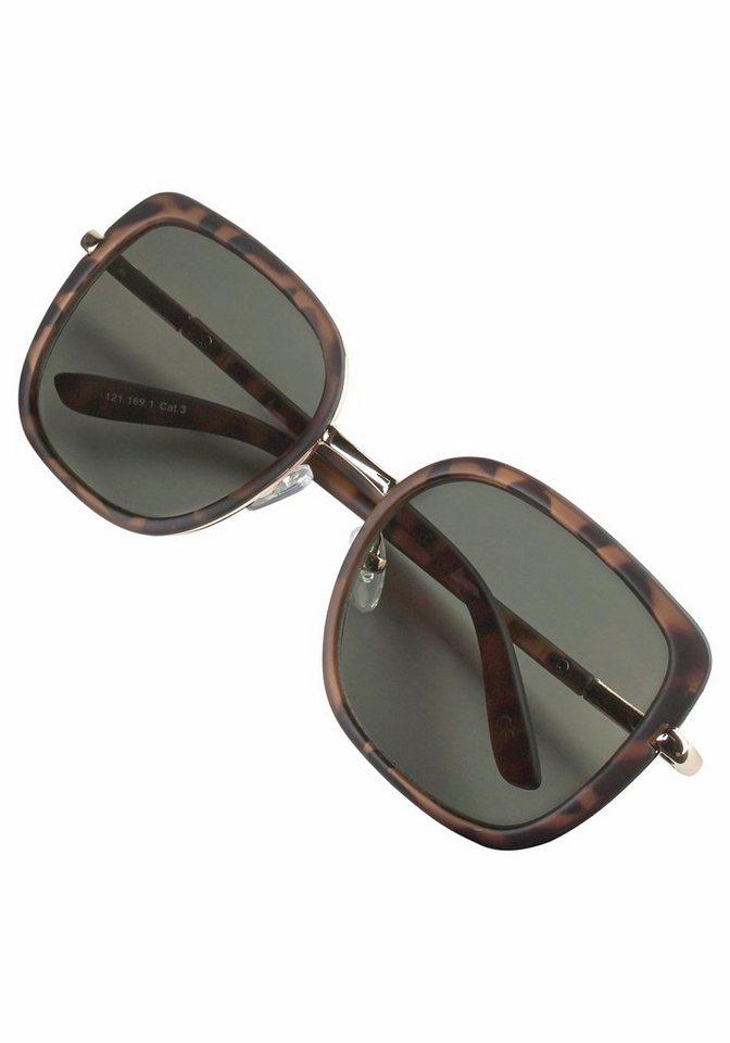 Catwalk Sonnenbrille mit Rahmen im Materialmix in braun