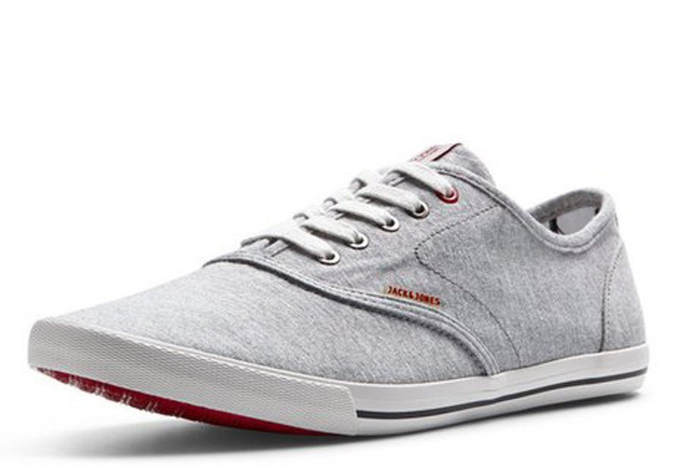 Jack & Jones Leinen- Sportschuhe in Light Grey Melange