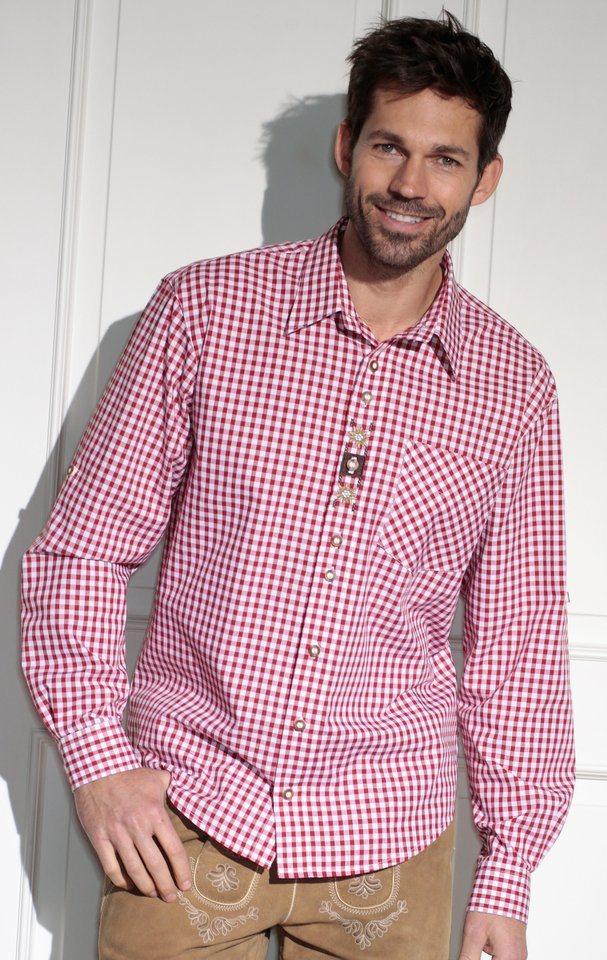 Trachtenhemd Herren mit Brusttasche, OS-Trachten in rot