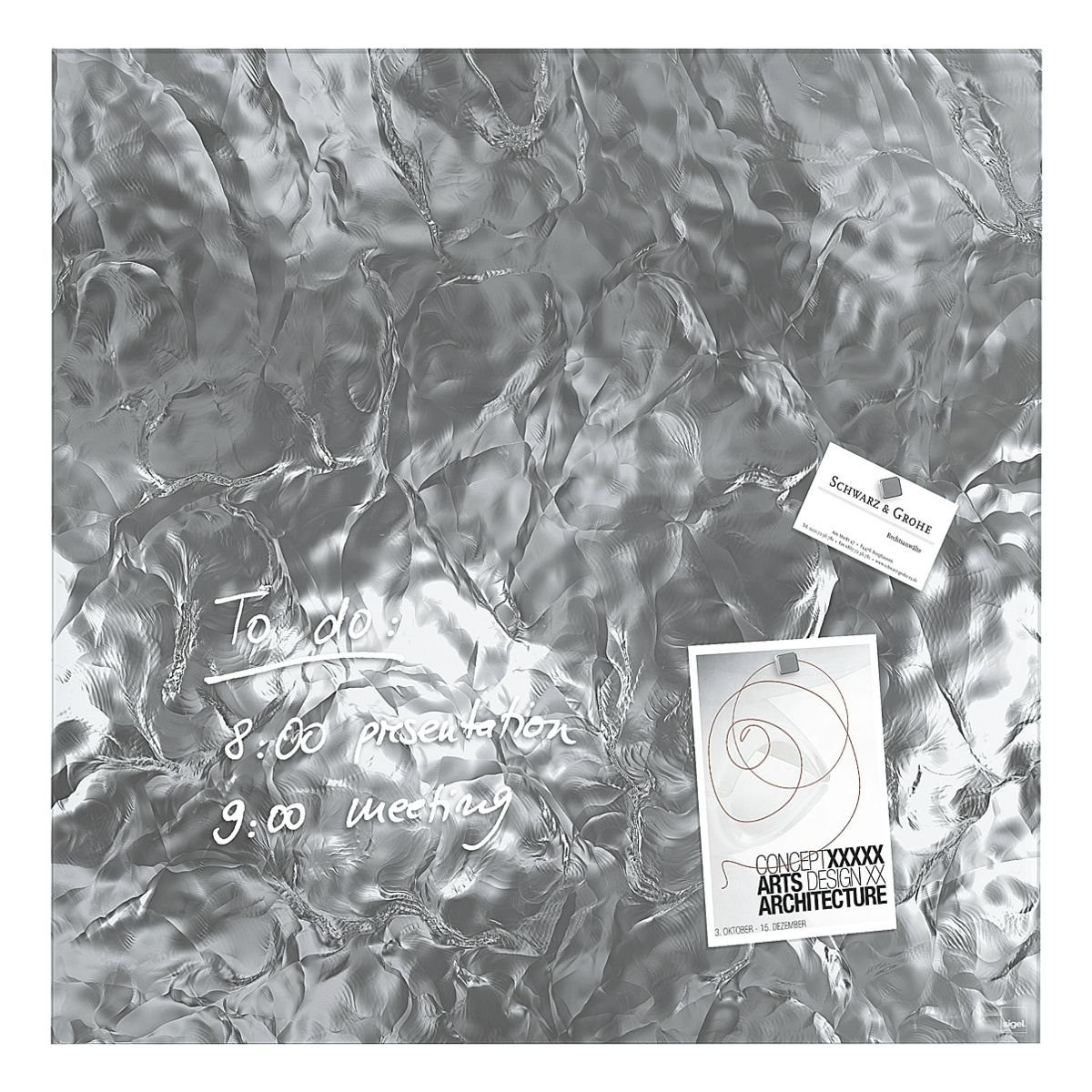 Sigel Glas-Magnettafel »artverum® Shiny Silver«