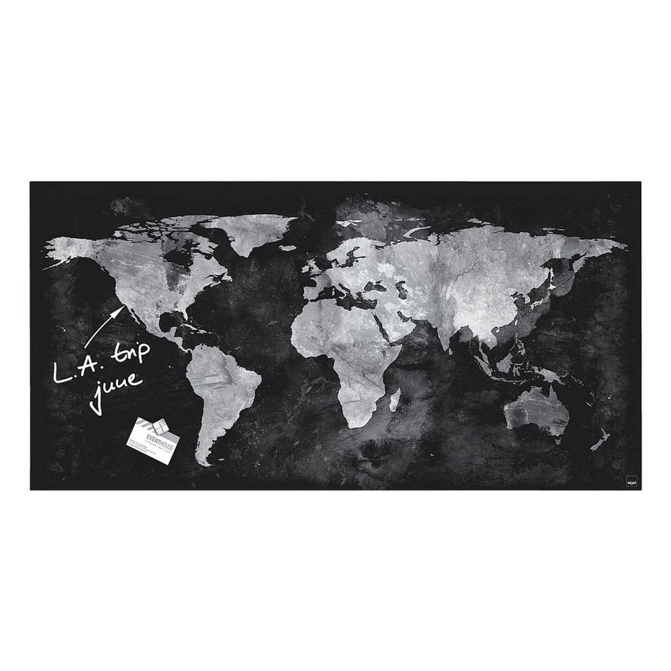 Sigel Glas-Magnettafel »artverum® World Map«