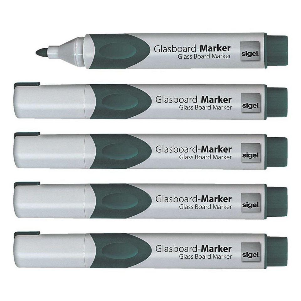 Sigel 5er-Set Glasboard-Marker in grün